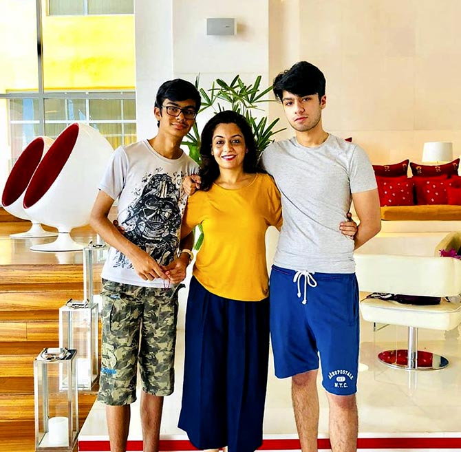 Vandana Sufi Katoch with her sons