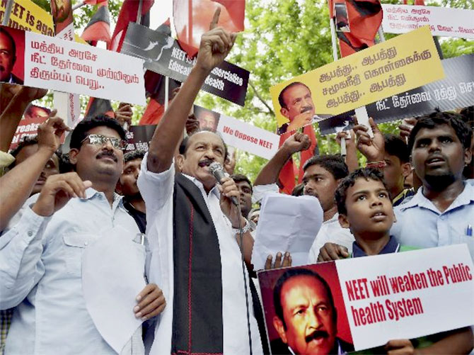 MDMK's Vaiko protests against NEET in Tamil Nadu
