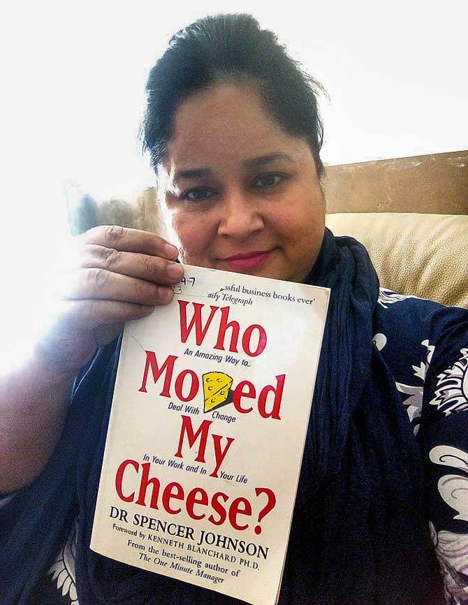 Bhavna Pandit poses with her favourite book Who Moved My Cheese
