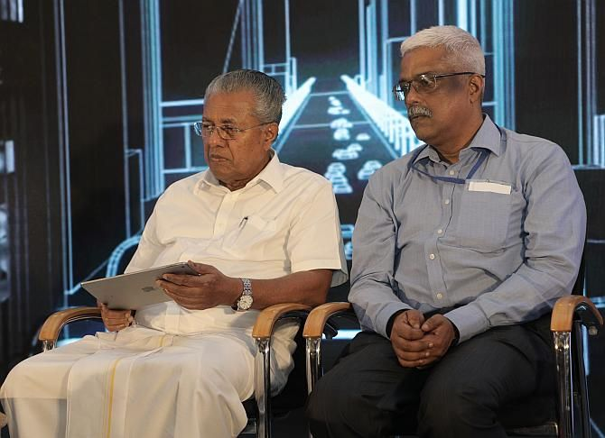 Kerala chief minister Pinarayi Vijayan (left) with Secretary, IT, government of Kerala Electronics and IT Department