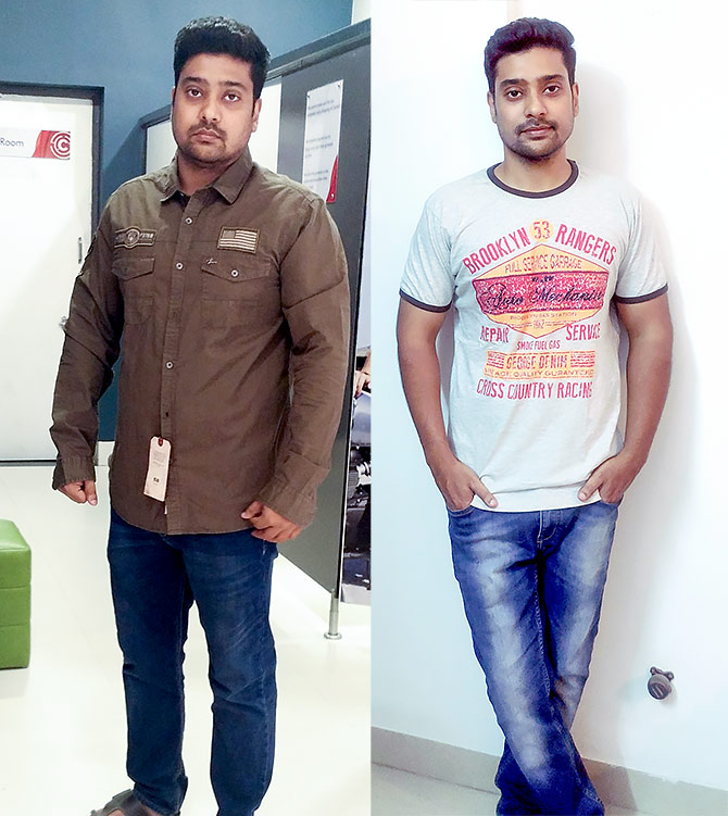 Navneet went from 75 kg to 59.5 kg in two months
