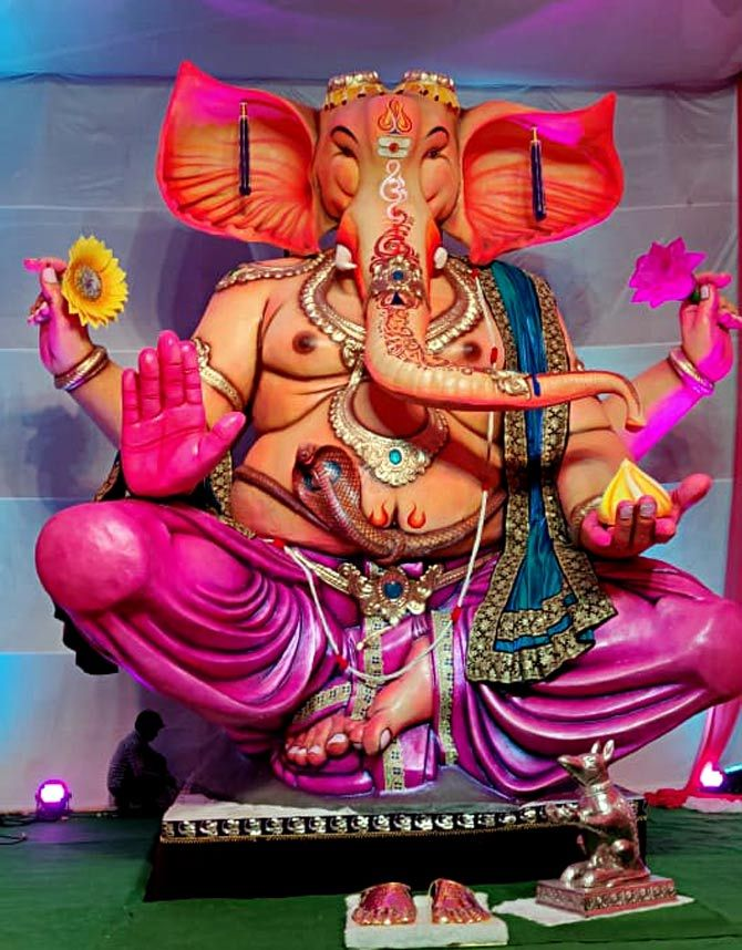 Tejukaya Ganpati is made from paper and clay