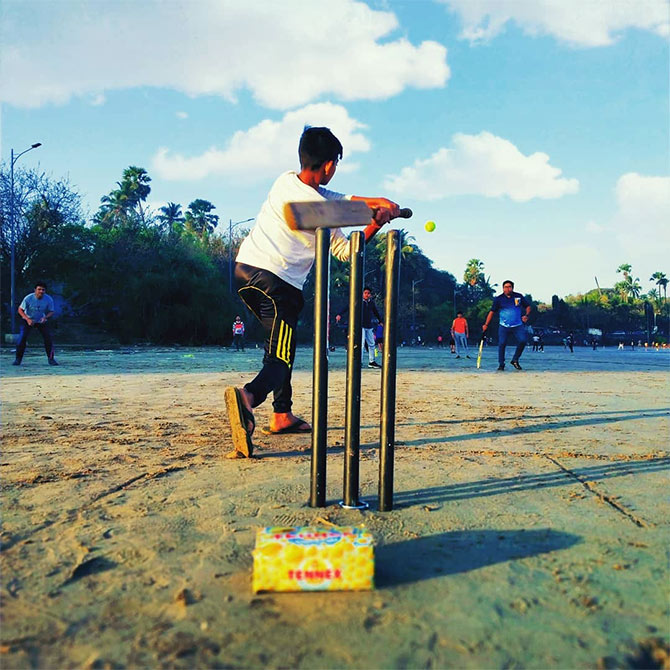 Beach cricket. Photograph: Hemantkumar Shivsharan/Rediff.com
