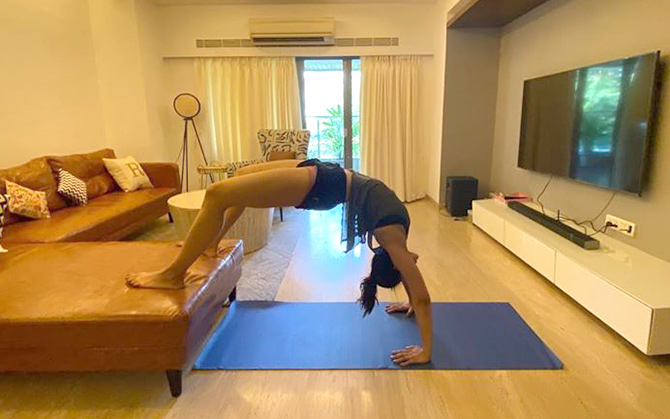 Rakul Preet doing yoga at home