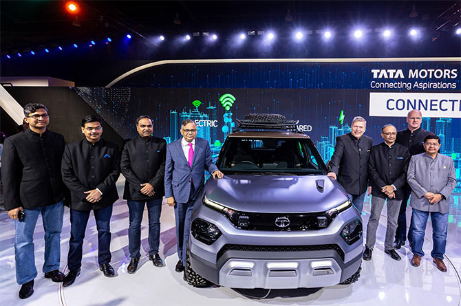 That Tata Motors leadership team wit the HBX Compact SUV concept