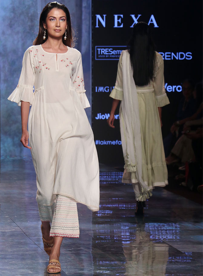 Dia Mirza walks for House of Kotwara at Lakme Fashion Week Summer/Resort 2020