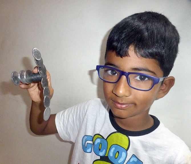 Adithya does a science experiment