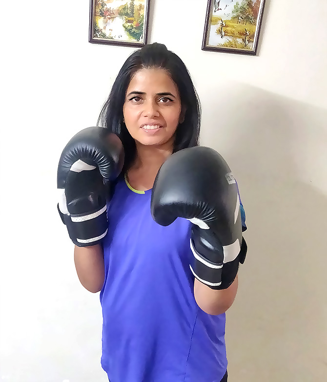 Vinita learned boxing from her 14 year old son
