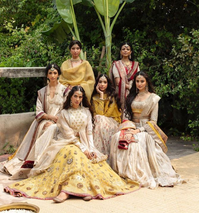Models present Anju Modi's Sindoori collection at India Couture Week 2020