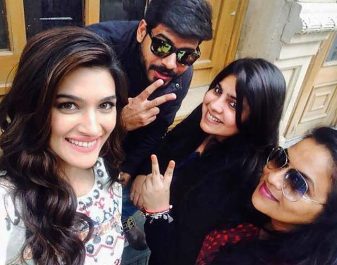 With Kriti Sanon on the sets of Dilwale
