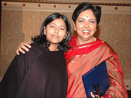 Indra Nooyi, CEO, PepsiCo, with her daughter.