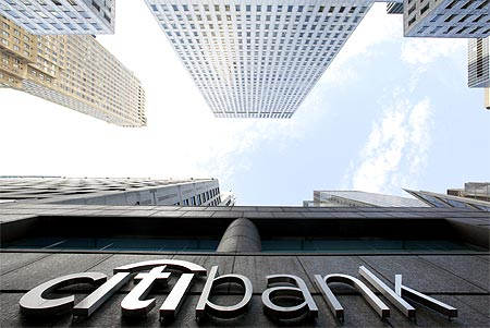 A Citibank sign is seen on the side of a branch in New York.