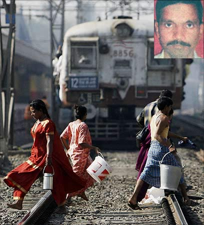 People cross a railway track in Mumbai, Bharat Borge (inset).