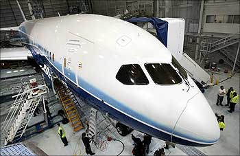 The Boeing company's first 787 Dreamliner is readied for its first test flight.