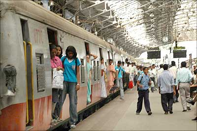 Passengers geting down at Churchgate station in Mumbai.