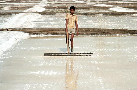 A labourer works on a salt pan in Mumbai.