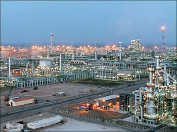 The Reliance Industries Ltd petrochemical plant at Jamnagar.