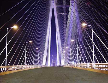 Infrastructure: The brightly lit Bandra-Worli sea link in Mumbai.