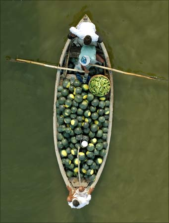 Better environment: Farmers carry watermelons on a boat across the river Ganges in Allahabad.
