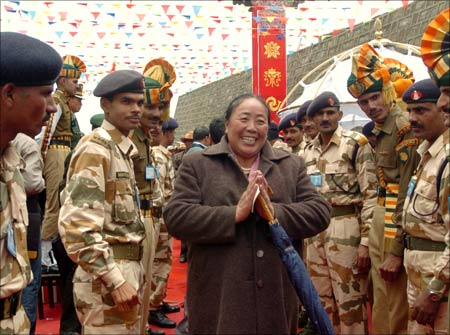 Trade: A Tibetan trader greets well-wishers after crossing into India at Nathu La.