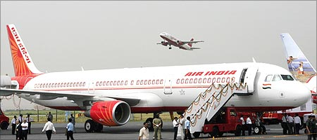 An Air India Airbus A321 sits on the tarmac in New Delhi.