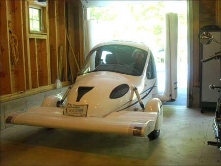The Transition Roadable Light Sport Aircraft Proof of Concept fits in a single car garage with the wings folded.