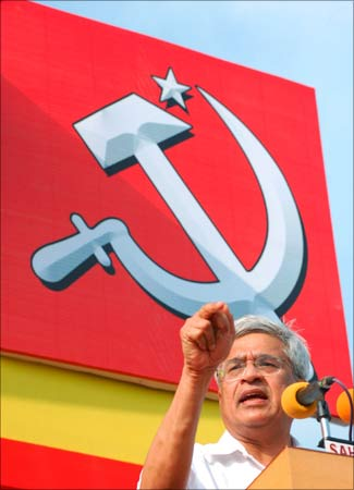 Prakash Karat, the chief of the Communist Party of India-Marxist, speaks during an election rally.