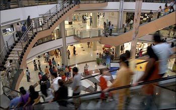 People inside a shopping mall in Mumbai.