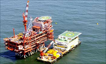 Reliance Industries KG-D6's control and raiser platform is seen off the Bay of Bengal.