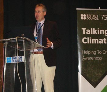 Mike Hulme, Professor at the University of East Anglia's prestigious climate change programme, delivering a lecture in Mumbai.