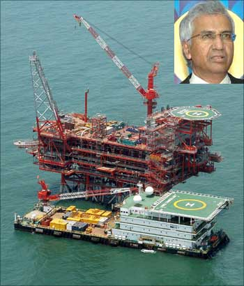 Reliance Industries KG-D6's control and raiser platform is seen off the Bay of Bengal. (Inset) RIL Director P M S Prasad.