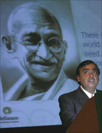 Reliance Industries' chairman Mukesh Ambani speaks during a foundation day lecture of The Energy and Resources Institute in New Delhi on August 21, 2007.