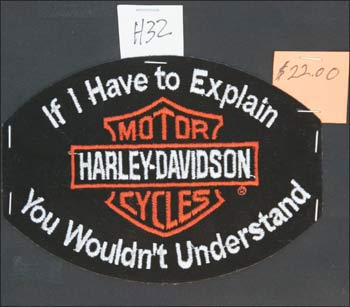 A Harley-Davidson patch is for sale at a bar during a Bike Week event in Samsula, Florida.