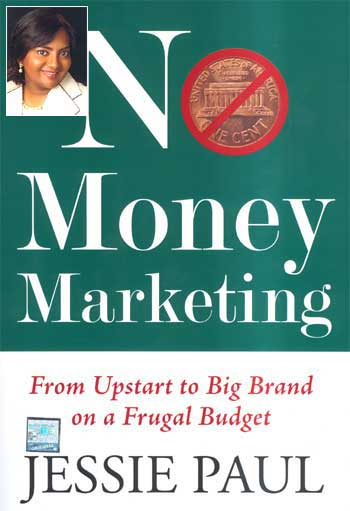 Cover of No Money Marketing. Inset: Jessie Paul.