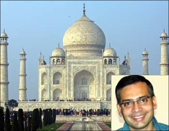 Tourists stand in front of the historic Taj Mahal in Agra. (Inset) Deep Kalra, CEO, MakeMyTrip.com.