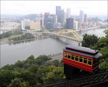 A view of downtown Pittsburgh from the Duquesne Incline on Mt. Washington. Photograph:  David A. DeNoma/Reuters