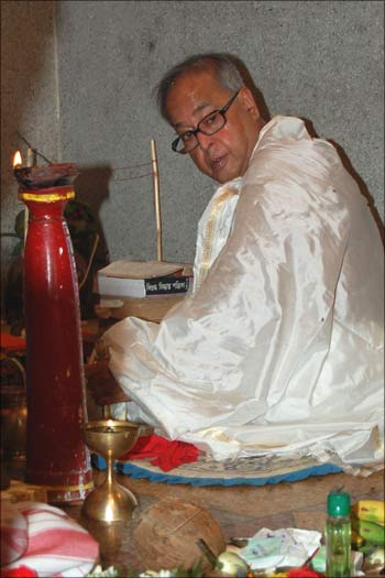 Mukherjee in a priest's garb in this September 2009 photograph