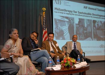 (From Left): Sudha Murthy, chairperson Infosys Foundation; Salil Shetty, Director, UN Millenium Development Campaign; Reuben Abraham, professor and executive director, Center For Emerging Market Solutions, India School of Business; and N R Narayana Murthy, chairman and chief mentor Infosys at AIF Annual Summit in New York on Monday.