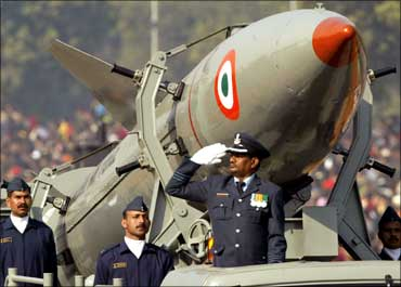 An Indian Air Force float at the Republic Day parade in Delhi.