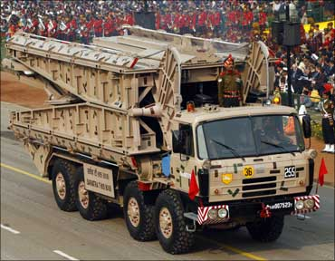 An Indian Army float at the Republic Day parade in Delhi.