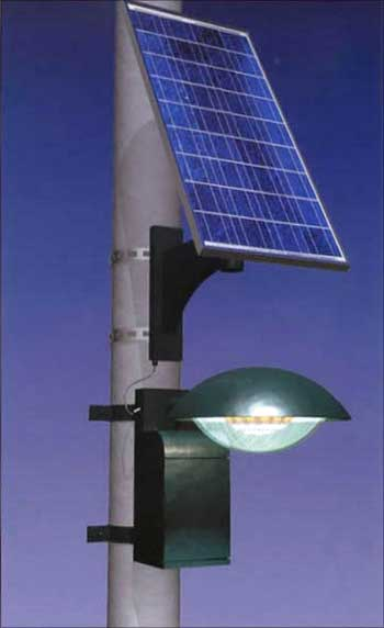 A solar-powered street light.
