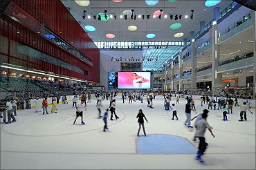 A skating rink in Dubal Mall.