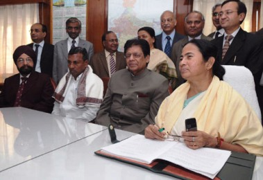 Mamata Banerjee at a Press conference after the Railway Budget