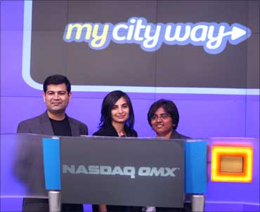 (From L- R) Puneet Mehta, Sonpreet Bhatia and Archana Patchirajan - the co founders of MyCityWay.