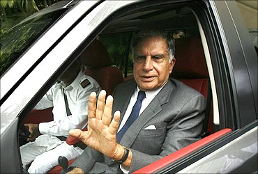 Ratan Tata at the launch of Jaguar and Land Rover in India.