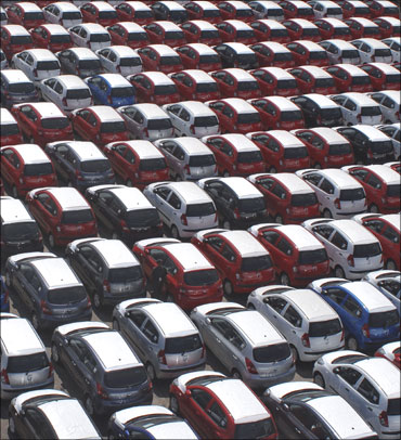 Hyundai cars ready for shipment at a port in Chennai.