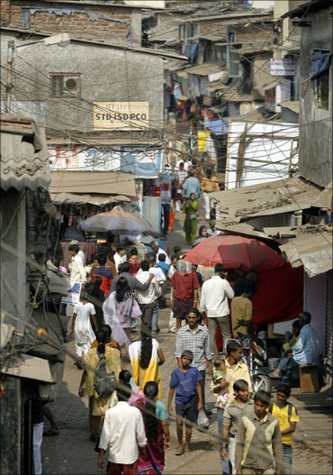 A typical Indian slum.