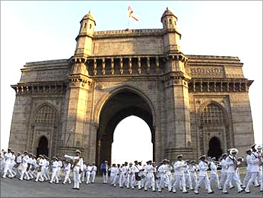Cadets from the Naval Band play military music at the Gateway of India in Mumbai.