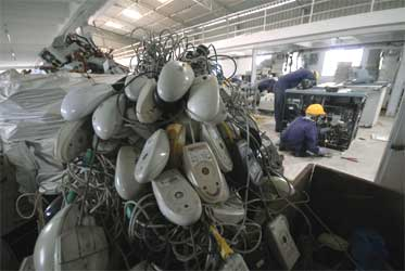 An e-waste recycle factory at Mankhal, Hyderabad.