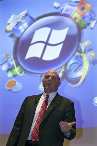 Chief Executive Officer of Microsoft Corporation Steve Ballmer attends a news conference to present the Windows Mobile operating system.